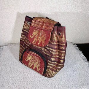 Small Backpack w Elephant Embroidery